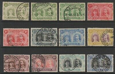 Rhodesia 1910 Double Heads used selection, values to 2/-