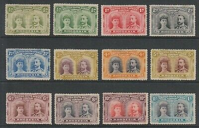 Rhodesia 1910 Double Heads mint selection, values to 1/-