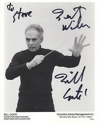 BILL CONTI HAND SIGNED 8x10 PHOTO       GREAT ROCKY COMPOSER     SIGNED TO STEVE