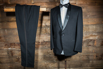 41 Long W32 L31.5 Black Single Breasted Dinner Suit Cruise Tuxedo Kleidung & Accessoires
