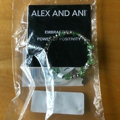 Disney Parks Alex and Ani WISHES Bracelet Wrap Green Beaded NWT Silver Colored