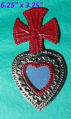 Art Mexican Handmade Painted Tin Ornament Heart & Cross Mirror Milagro Red 3/$28