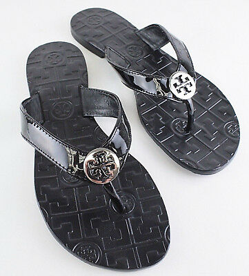 392a4da41956 TORY BURCH THORA Black Patent Leather Thong Flip Flop Sandals Size 5 ...