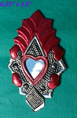 Art Mexican Handmade Painted Tin Ornament Heart Mirror Milagro Red 3/$28