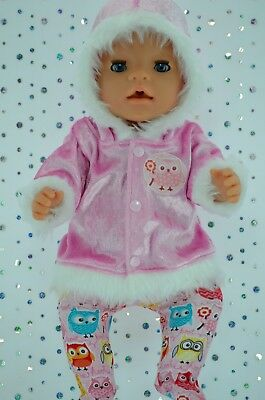 """Play n Wear Doll Clothes To Fit 17"""" Baby Born PINK VELVET JACKET~TIGHTS"""