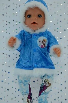 """Play n Wear Doll Clothes To Fit 17"""" Baby Born  ROYAL BLUE VELVET JACKET~TIGHTS"""