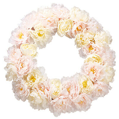 """22"""" Silk Peony Flower Hanging Wreath -White/Pink (pack of 2)"""