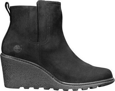 120a8f652825 New Timberland Amston Chelsea Black Leather Pull On Wedge Boots Women s  Size 10