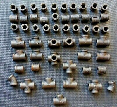 """1/2"""" Black Malleable Iron Couplings - Mixed Lot Of 53 Pipe Fittings"""