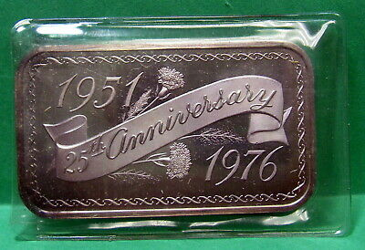25th Anniversary 1951 to 1976, Art Bar Fine Silver .999 1 troy ounce, Madison