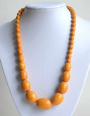 Art Deco Egg Yolk Bakelite Graduated Necklace Hidden Clasp Tested 64 Gr 23''