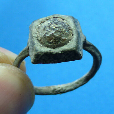 Unusual Ancient Byzantine Or Medieval Lead Alloy With Rare Gemstone