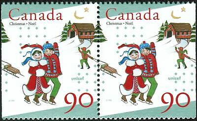 Canada Sc#1629as Christmas and Unicef: Children Skating, Pr from Booklet Mint-NH
