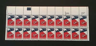 US Postage Stamps Scott #2204 REPUBLIC of TEXAS 22 cent Plate Block MNH