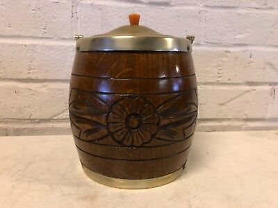 Antique English Biscuit Barrel Oak and Silverplate with Floral Decorations