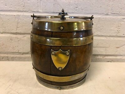 Antique English Biscuit Barrel Oak and Silverplate Double Banded w/ Shield Dec.