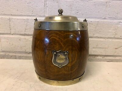 Antique English Biscuit Barrel Oak and Silverplate 1897 Shield Decorations