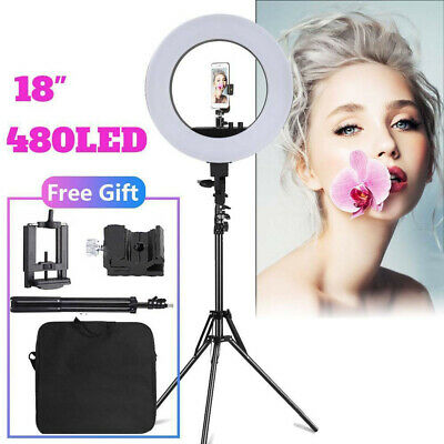 "18"" LED Ring Light Light Stand  Kit Dimmable Photo Studio Selfie Phone Live"