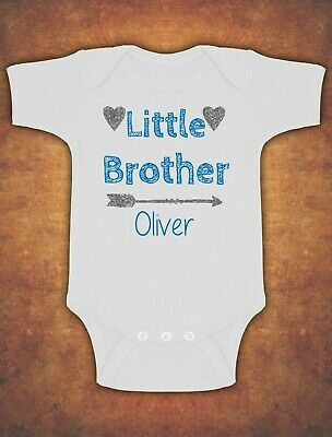 Personalised Little Brother Birthday Present Gift Baby Kids Body Suit Vest Boy