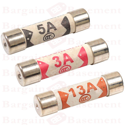 12 x Mixed Ceramic Household Domestic Mains Plug Fuses Top 3A 5A 13Amp UK New