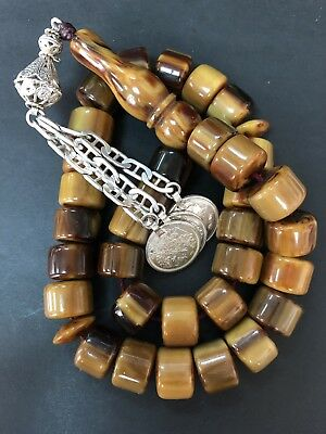 Antique Old Brown Damari Amber bakelite  islamic  Worry prayer 33 beads119 Grams