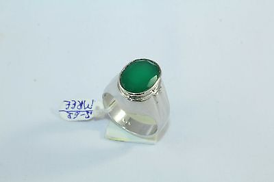 92.5 Hallmarked Sterling Silver Men's Ring,Green Onyx Stone Ring