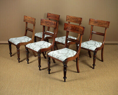 Antique Set Of Six William IV Mahogany Dining Chairs c.1835.