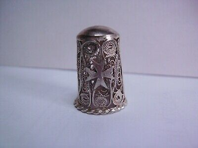 1891- 1917 Vintage .925 Silver Filigree Thimble With Maltese Cross Design