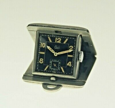 Rare EBEL Miniature Art Deco travel clock purse Uhr pocket watch Collectible pc.