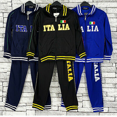 Boys Girls Football Tracksuit Italia Training Zip Top & Bottoms Italy Jogging St