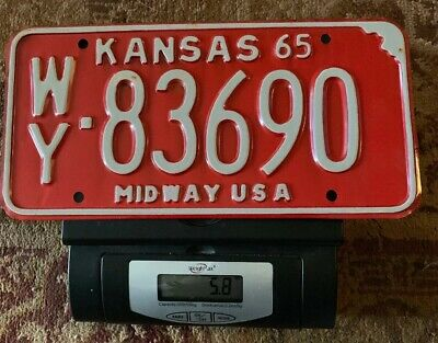 1965 KANSAS License Plate - RED With WHITE Letters Kansas 65 Midway USA WY-83690