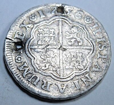 1756 Spanish Silver 1 Reales Piece of 8 Real Colonial Pirate Treasure Coin