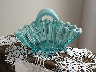 Fabulous Pearlescent Blue Glass Basket