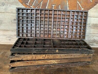 Vintage Antique Old Printers Trays, Printers Drawer,
