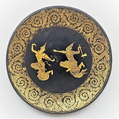 Antique Thai Large Lacquered Wooden Tray. Gold Gilt. Khon Dance.
