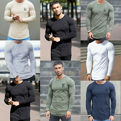 Mens Slim Fit Long Sleeve T Shirt Designer Muscle Fitted Top Gym Curved Hem Tee