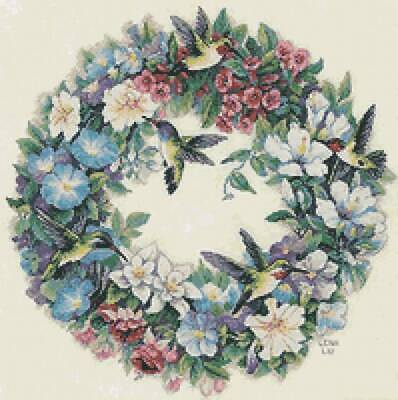 "DIMENSIONS GOLD COLLECTIONS""HUMMINGBIRD WREATH""CROSS STITCH KIT Kreuzstich STICK"