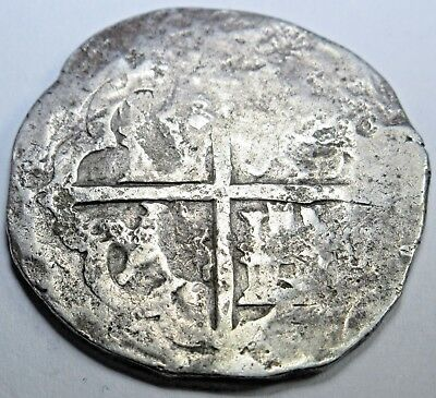 1600s Spanish Silver 2 Reales Piece of 8 Real Colonial Pirate Cob Treasure Coin