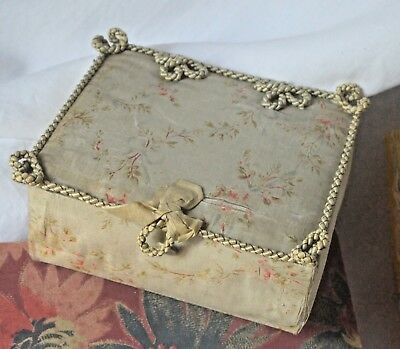 Antique French fabric covered boudoir box silk floral fabric, passementerie, bow