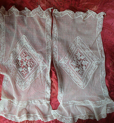 A pair of antique French needle lace net curtains, Normandy lace