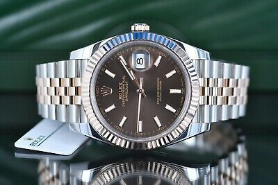 9543d55cb4226 Rolex Datejust 41 Ref 126331 Chocolate Stick Dial 18K Everose and Steel  Jubilee