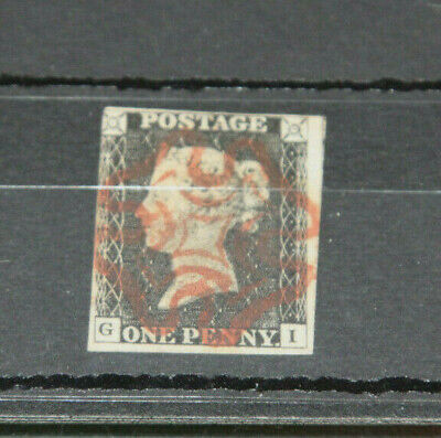 Gb 1840 1D Black - 3Margins Corner Letters Gi With Red Maltese Cross Canx