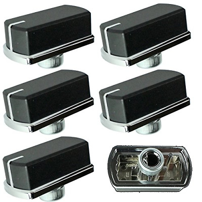 Genuine Belling Hob Oven Cooker Control Switch Knobs Black/Silver, Pack of 6