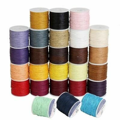 50 Colors 100 yards Waxed Cotton Cord 1 mm Thread String Rope Wire Beading Craft