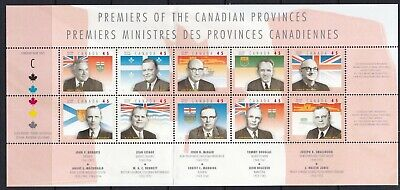 CANADA 1998 PROVINCIAL PREMIERS PANE OF 10 x 45c STAMPS  # 1709 MNH
