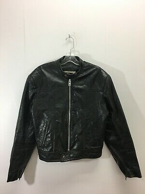 Vintage Old Mill Leather Classic Cafe Racer Motorcycle Jacket Made Canada