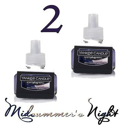 2 Yankee Candle MIDSUMMER'S NIGHT Scent Plug Refill / Diffuser ⭐NEW & FRESH⭐ X2