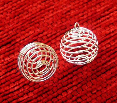 12 Wire Pearl Cage Pendant Necklace Spiral Bead Holder 3 different sizes in one