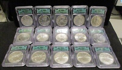 Nice Starter Lot of (15) American Silver Eagles - All ICG MS 69