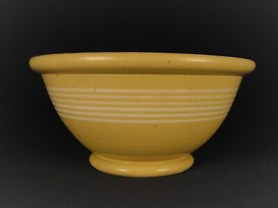 VERY RARE ANTIQUE 1800s AMERICAN 10 ½ INCH 6 BAND BOWL YELLOW WARE
